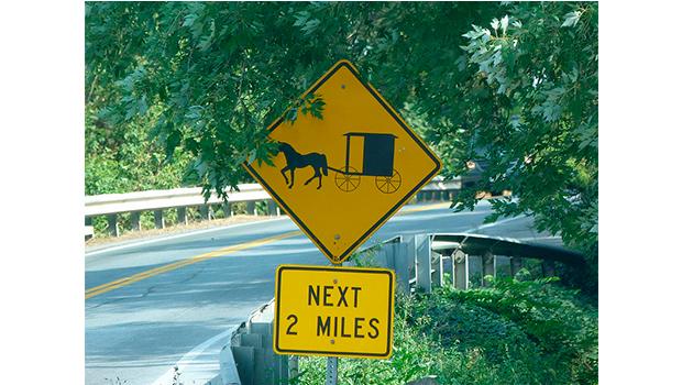 Cartel de carretera en el Condado de Lancaster