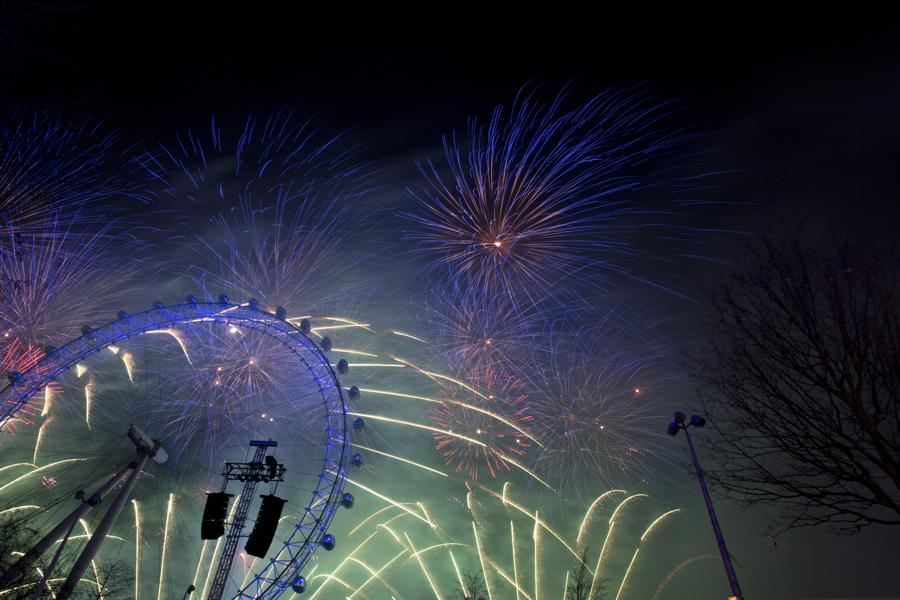 Fuegos artificiales en el London Eye