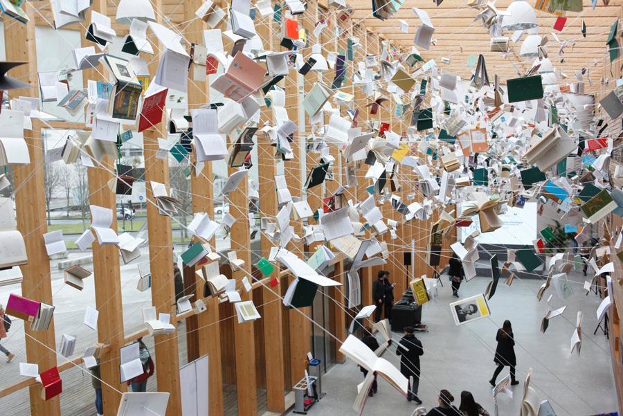 Instalación 'La Biblioteca de Babel' en el centro Carlos Santamaría. Foto: ©San Sebastián Turismo