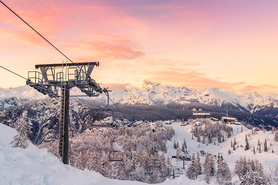Pistas de esquí en el Monte Volge en el Parque Nacional Triglav.