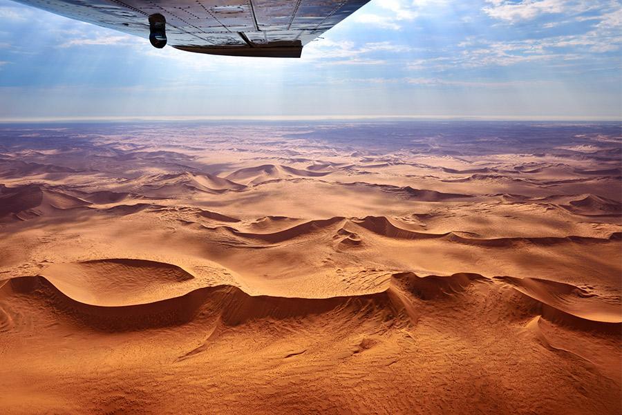 Vista aérea del desierto de Namib, Namibia.