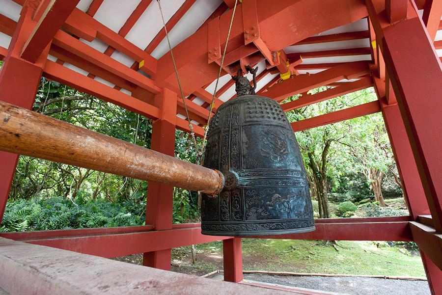 Campana de un templo budista japonés preparada para el 'Joya no kane'