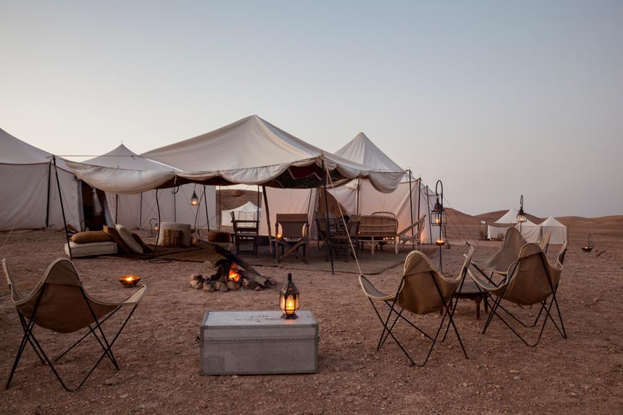 Hoguera en desierto de Agafay