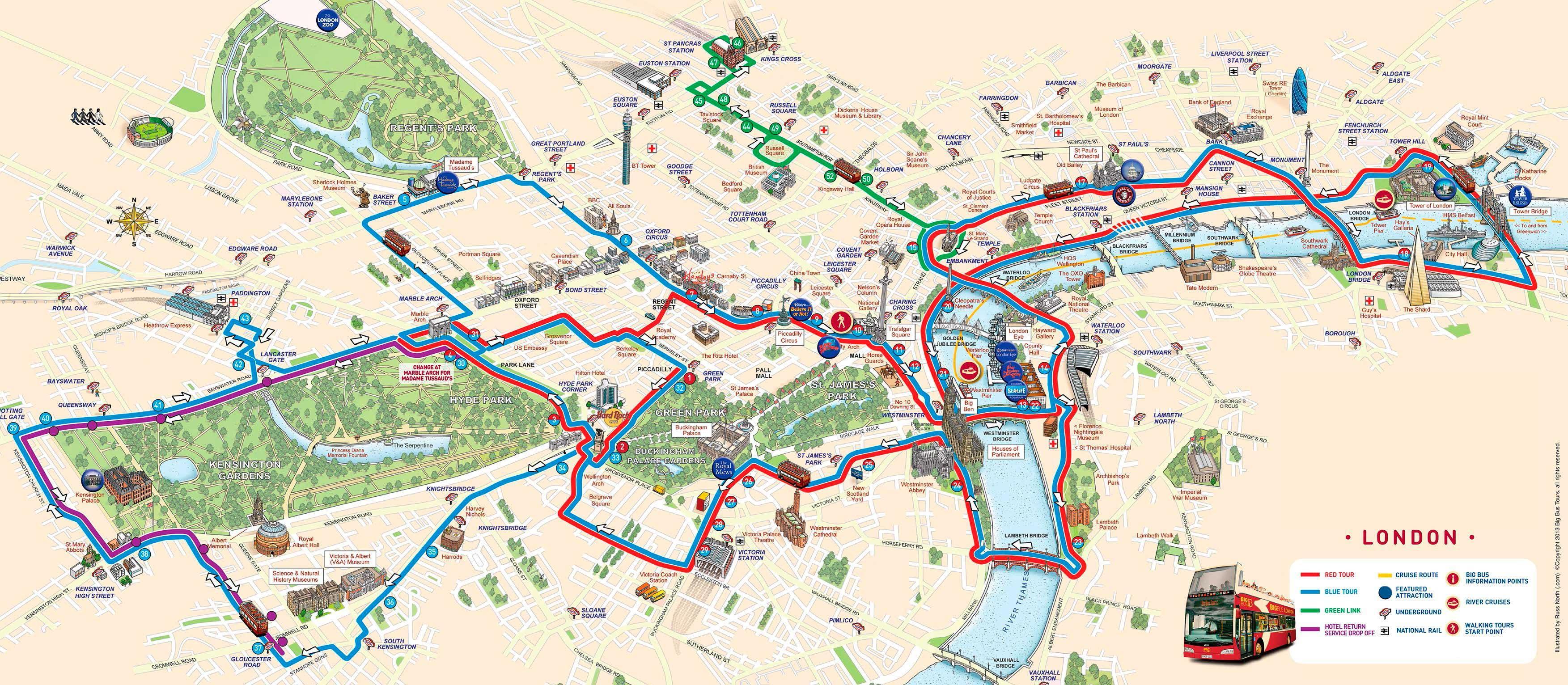 Mapa turistico en autobús Londres Viajes Carrefour