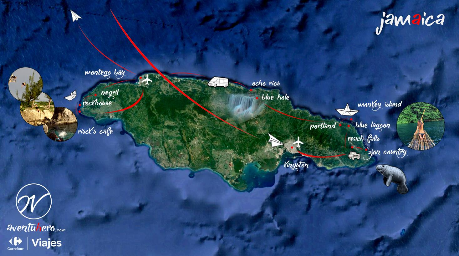 Mapa Jamaica, Viaje Aventuhero