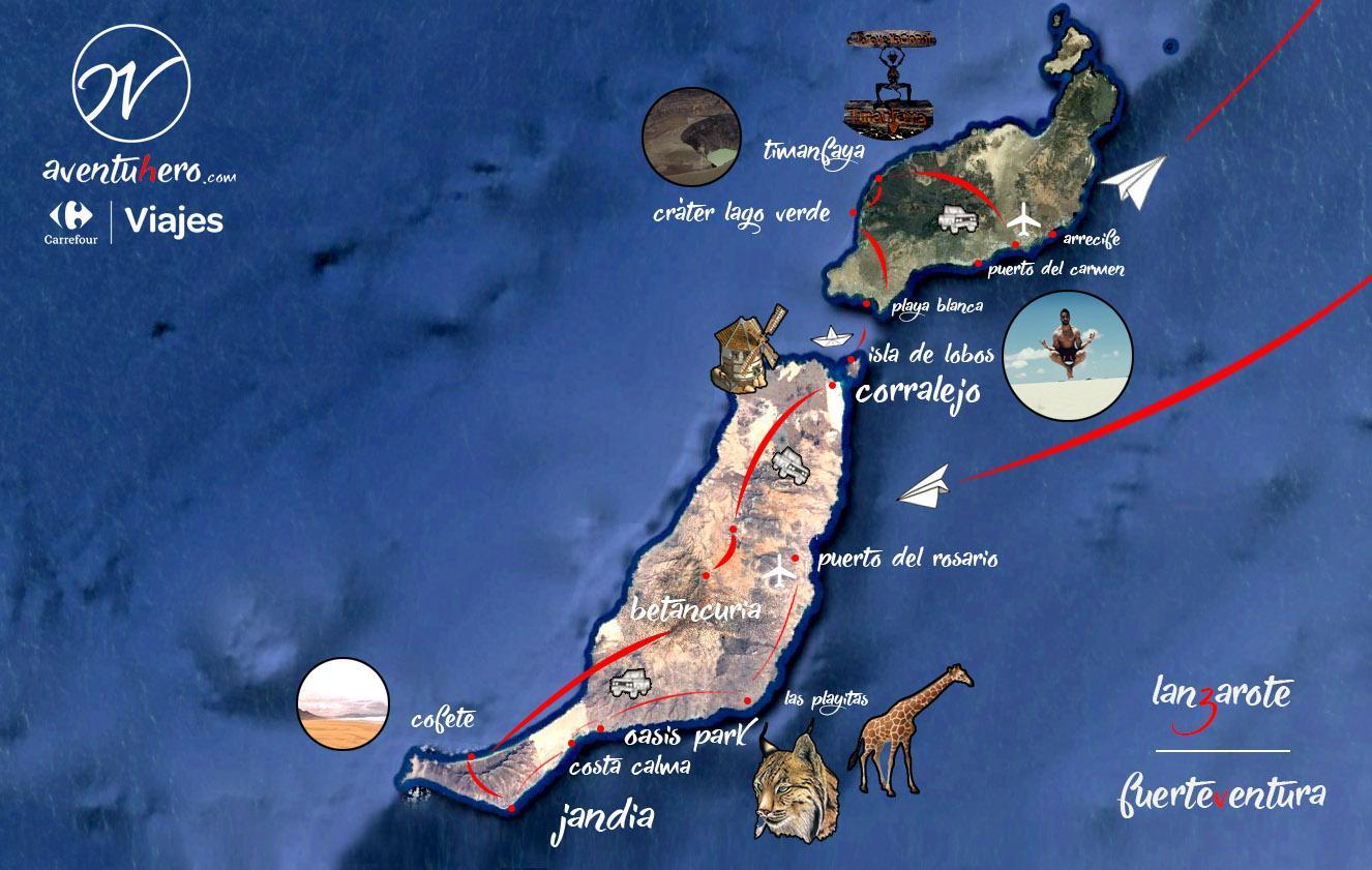 Aventuhero - Mapa de Fuerteventura y Lanzarote