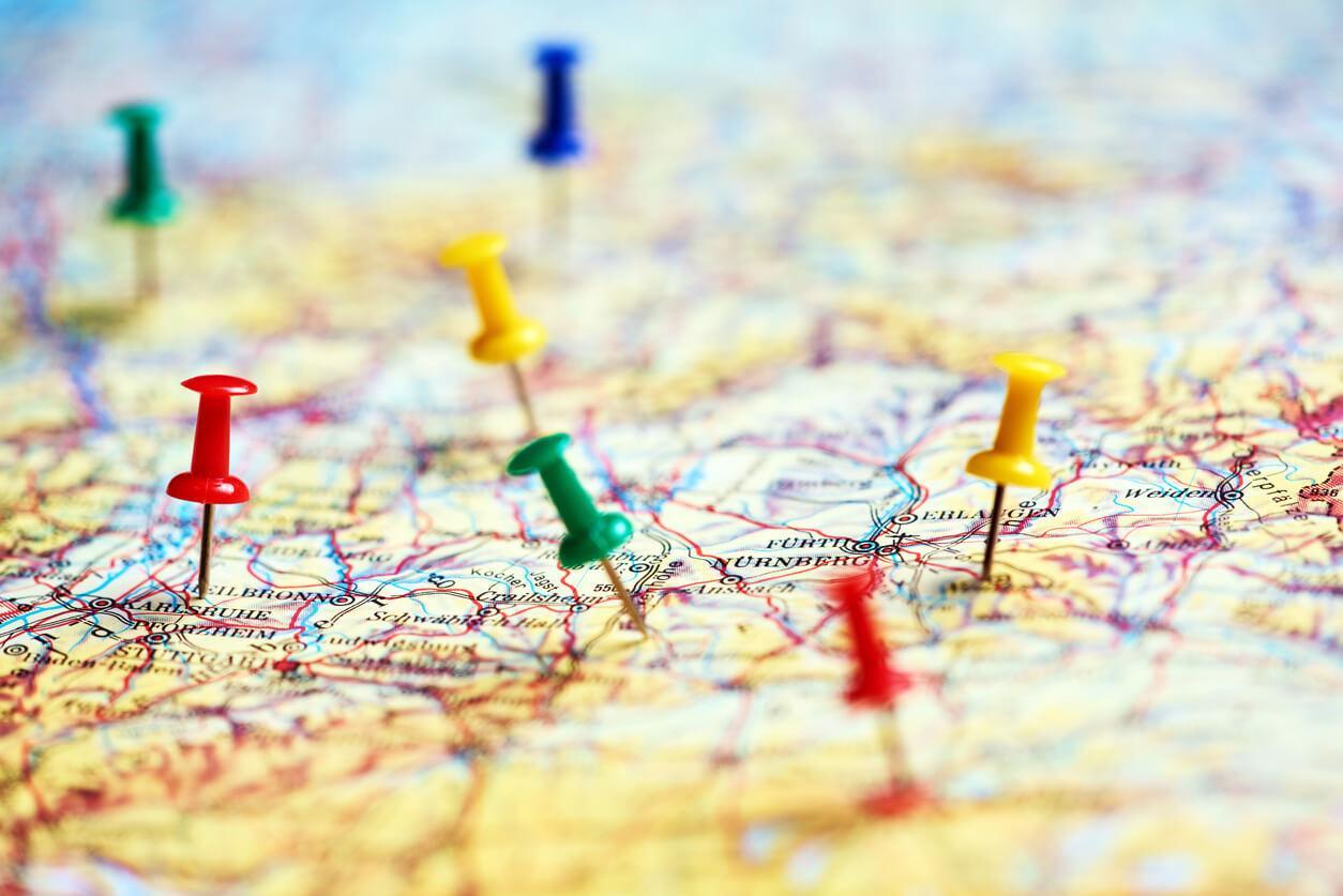 Circuito viaje sobre mapa