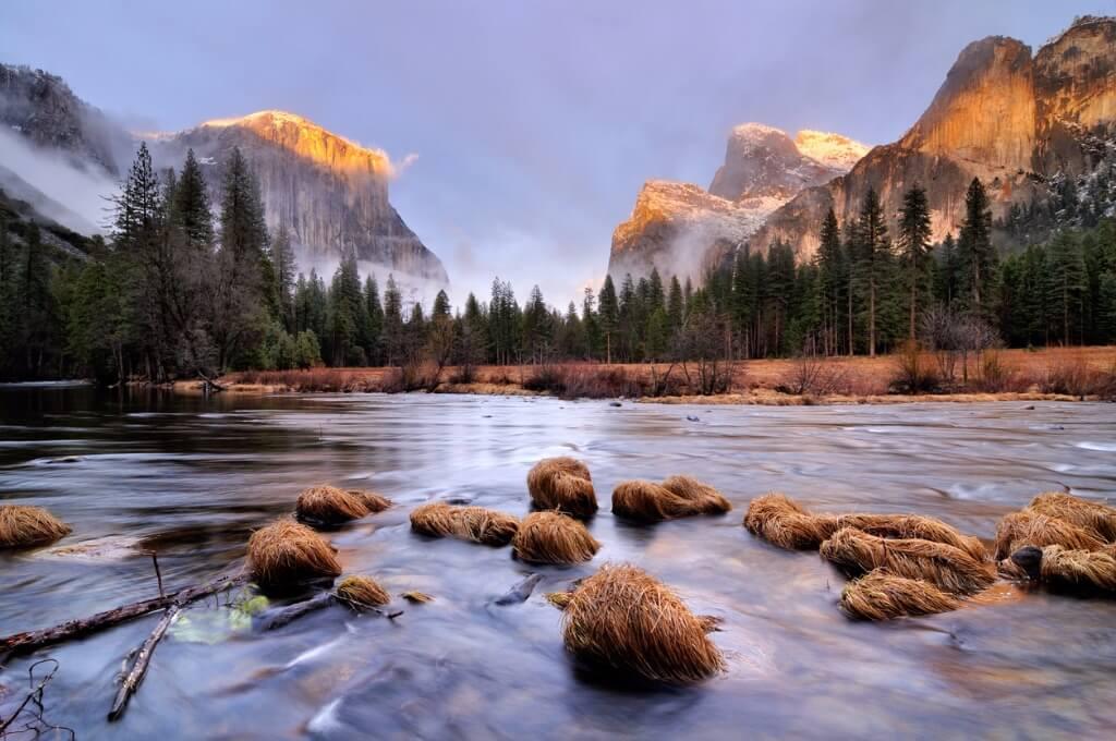 vuelos a EE UU, Atardecer en el Parque Nacional Yosemite en California
