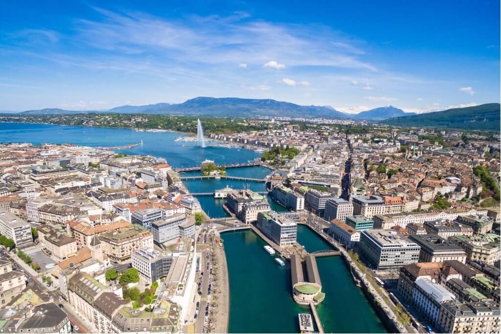 viaje a Suiza, Vista aérea de Ginebra