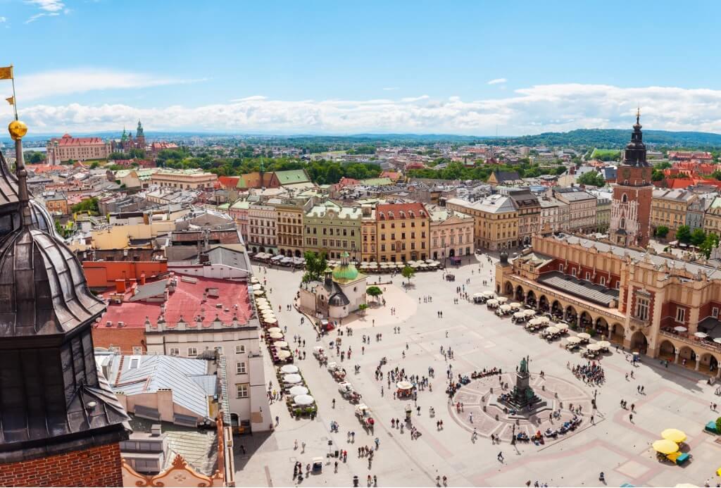 Vuelos a Polonia, Vista aérea de Cracovia