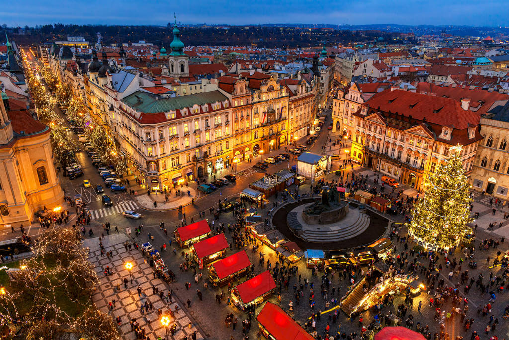 Vuelos a Praga, Plaza Mercado en Navidad