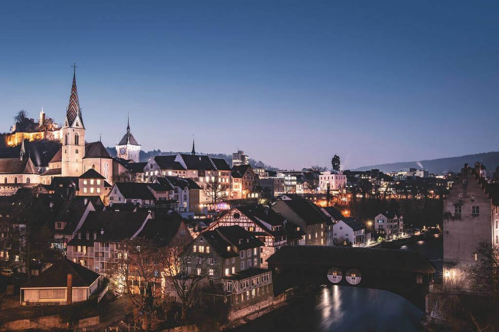 viajar a Suiza, Vista nocturna