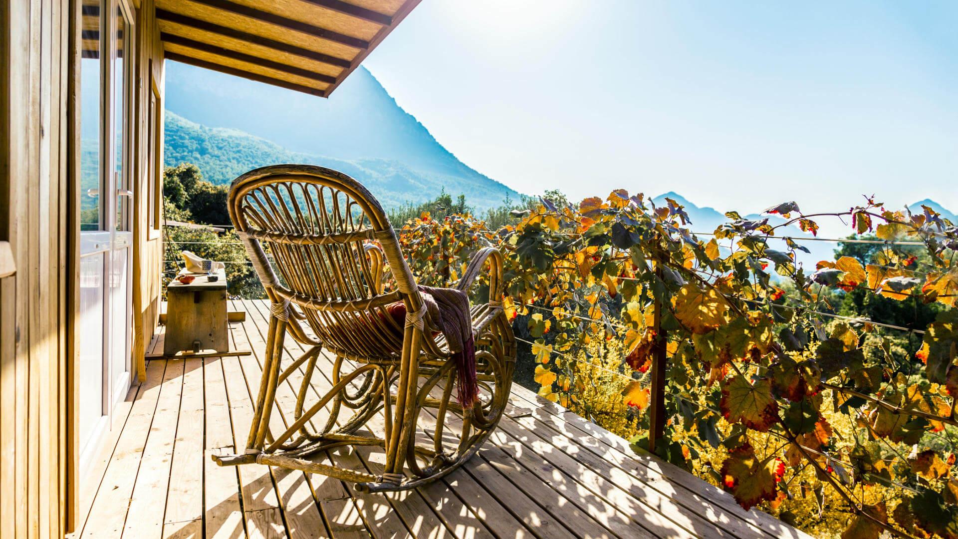 terraza silla al sol