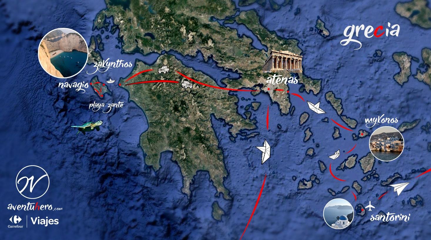 Mapa viaje aventuhero