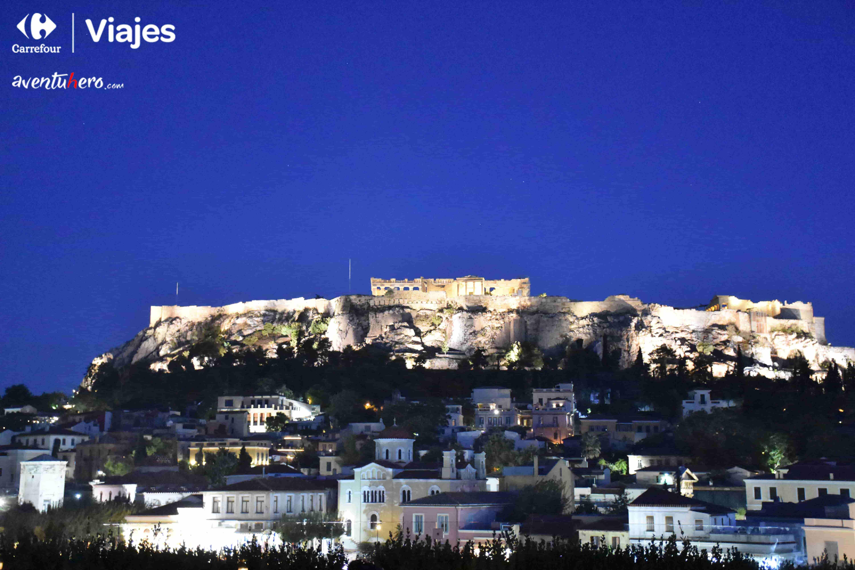 partenon de grecia iluminado