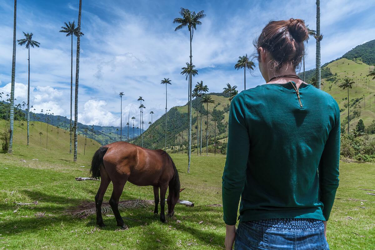 mujer mirando caballo en Colombia