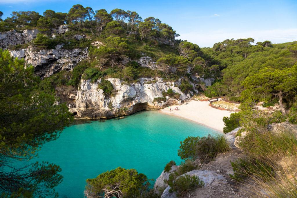 Cala en Turqueta (Turqueta playa) en Menorca, España
