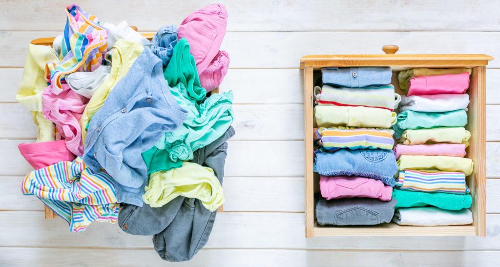 Marie Kondo ate el concepto de método - antes y después de los niños cajón de ropa