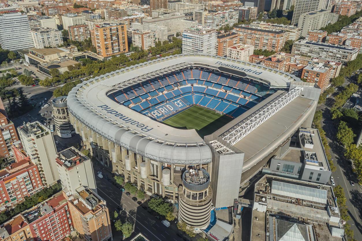 Vista aérea del estadio Santiago Bernabeu en Madrid