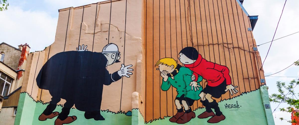 Guía Bruselas, Pared con cómic pintado